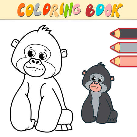 Coloring book or page for kids. gorilla black and white vector illustration Illustration