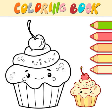 Coloring book or page for kids. cake black and white vector illustration
