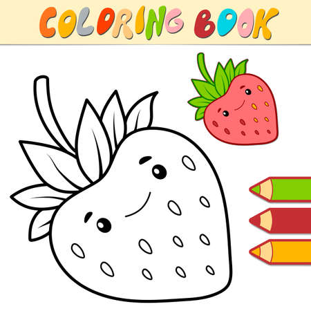 Coloring book or page for kids. Strawberry black and white vector illustration Illustration