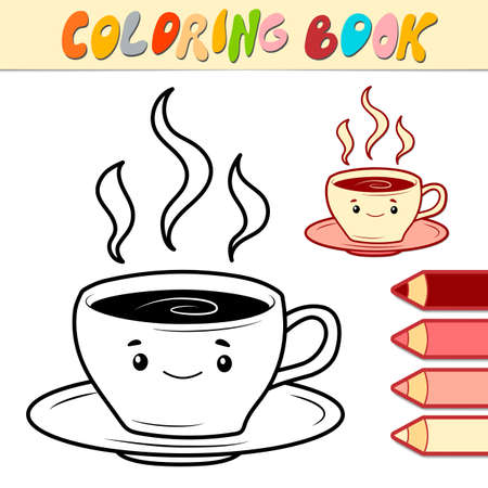 Coloring book or page for kids. cup black and white vector illustration