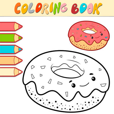 Coloring book or page for kids. donut black and white vector illustration Illustration