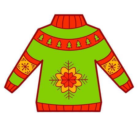 Christmas cartoons clip art. Sweater clipart vector illustration.
