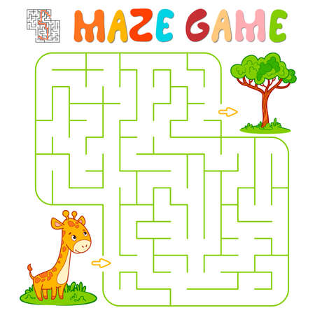 Maze puzzle game for children. Maze or labyrinth game with giraffe. Vector illustrations