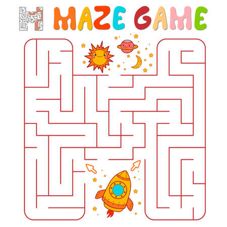 Maze puzzle game for children. Maze or labyrinth game with rocket. Vector illustrations
