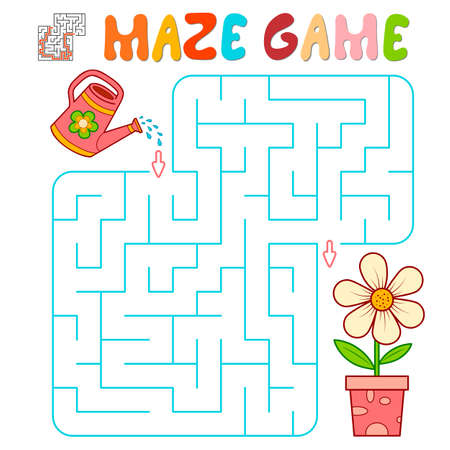 Maze puzzle game for children. Maze or labyrinth game with flower. Vector illustrations 일러스트