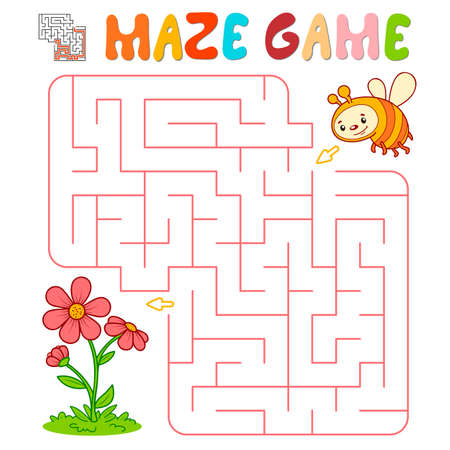 Maze puzzle game for children. Maze or labyrinth game with bee. Vector illustrations
