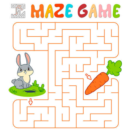 Maze puzzle game for children. Maze or labyrinth game with rabbit. Vector illustrations 일러스트