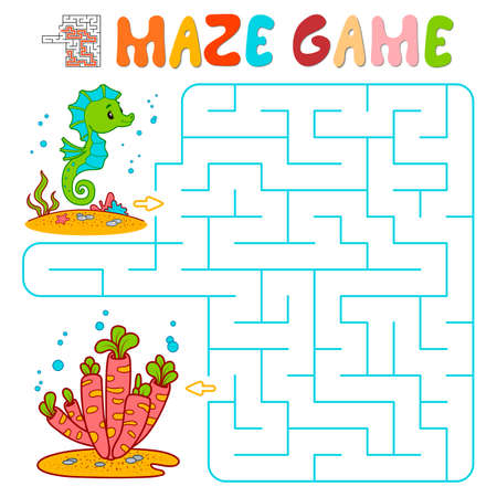 Maze puzzle game for children. Maze or labyrinth game with fish. Vector illustrations
