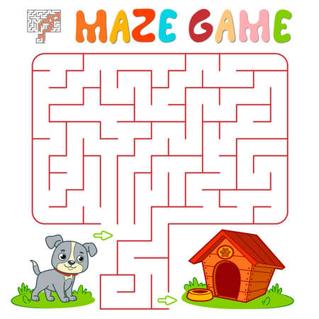 Maze puzzle game for children. Maze or labyrinth game with dog. Vector illustrations