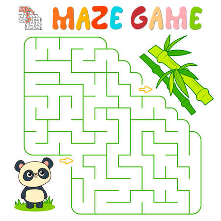 Maze puzzle game for children. Maze or labyrinth game with panda. Vector illustrations