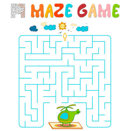 Maze puzzle game for children. Maze or labyrinth game with helicopter. Vector illustrations