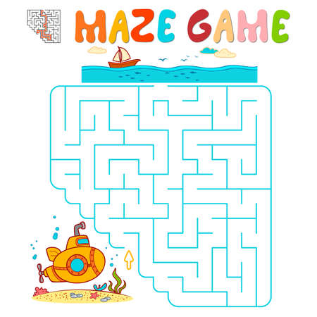 Maze puzzle game for children. Maze or labyrinth game with submarine. Vector illustrations 일러스트