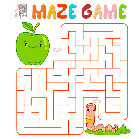Maze puzzle game for children. Maze or labyrinth game with worm. Vector illustrations 일러스트