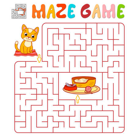 Maze puzzle game for children. Maze or labyrinth game with cat. Vector illustrations
