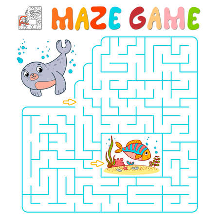 Maze puzzle game for children. Maze or labyrinth game with seal. Vector illustrations