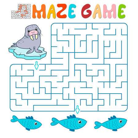 Maze puzzle game for children. Maze or labyrinth game with walrus. Vector illustrations 일러스트