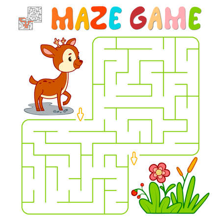 Maze puzzle game for children. Maze or labyrinth game with deer. Vector illustrations