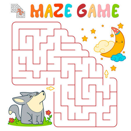 Maze puzzle game for children. Maze or labyrinth game with wolf. Vector illustrations