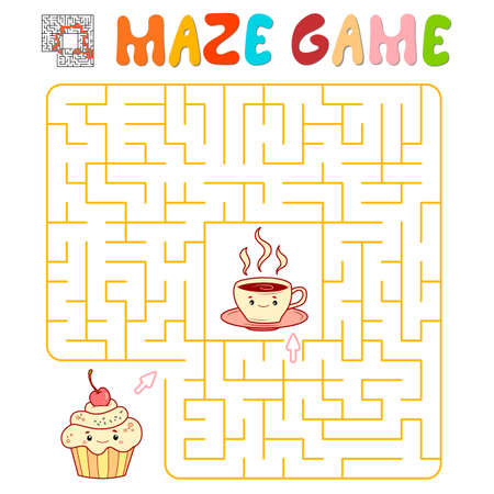 Maze puzzle game for children. Maze or labyrinth game with cake and tea. Vector illustrations