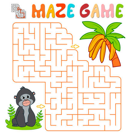 Maze puzzle game for children. Maze or labyrinth game with gorilla. Monkey and bananas vector illustrations