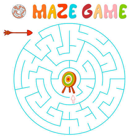 Maze puzzle game for children. Maze or labyrinth game with arrow and target. Vector illustrations 일러스트