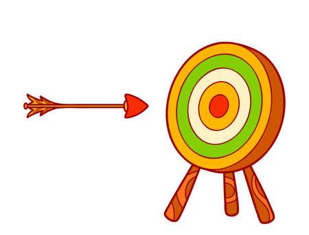 Cute arrow and target cartoon. Arrow and target clipart vector illustration 일러스트
