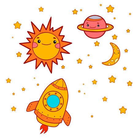 Cute rocket cartoon. Space ship clipart vector illustration