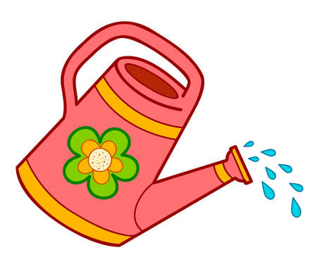 Cute watering can cartoon. Watering can clipart vector illustration