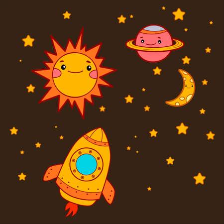 Cute rocket cartoon. Space ship vector illustration 일러스트