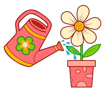Cute watering can and flower cartoon. Watering can and flower clipart vector illustration