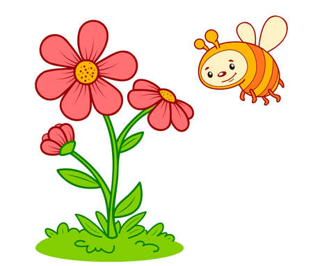 Cute bee cartoon. Bee and flower clipart vector illustration