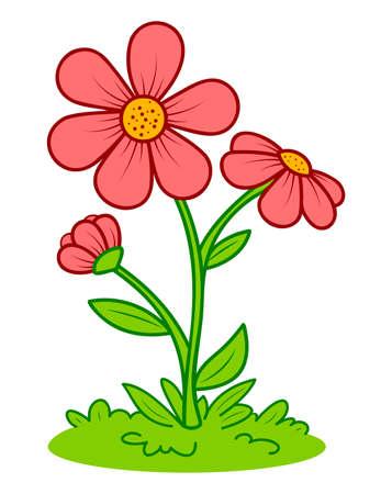 Cute flower cartoon. Flower and grass clipart vector illustration 일러스트