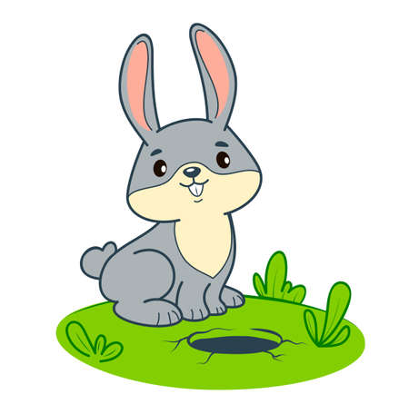 Cute rabbit cartoon. Bunny clipart vector illustration 일러스트