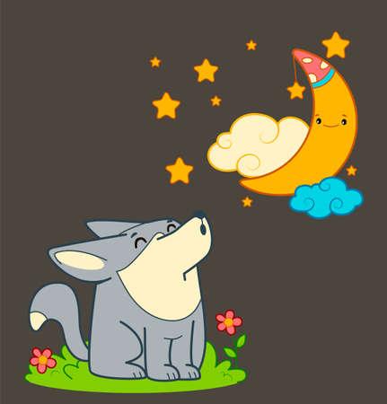 Cute wolf howls cartoon. Wolf howls moon night clipart vector illustration