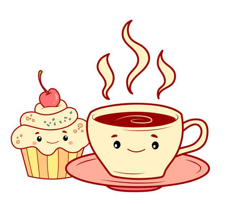Cute cake cartoon. Cup of tea clipart vector illustration