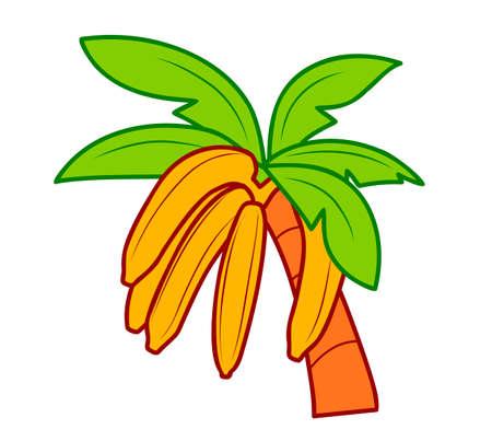 Cute banana cartoon. Banana on palm clipart vector illustration 일러스트