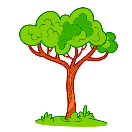 Cute tree cartoon. Tree clipart vector illustration