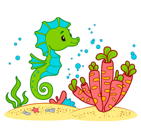 Cute Sea Horse cartoon. Seahorse clipart vector illustration