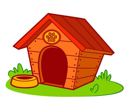Cute doghouse cartoon. Dog house clipart vector illustration