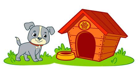 Cute dog house cartoon. Dog kennel clipart vector illustration 일러스트