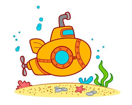 Cute Submarine cartoon. Submarine clipart vector illustration