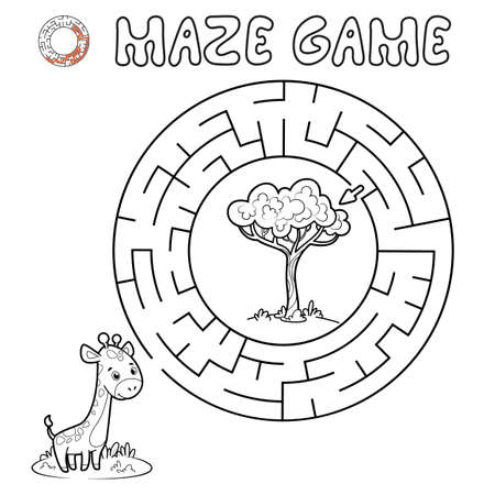 Maze puzzle game for children. Outline circle maze or labyrinth game with giraffe. Vector illustrations