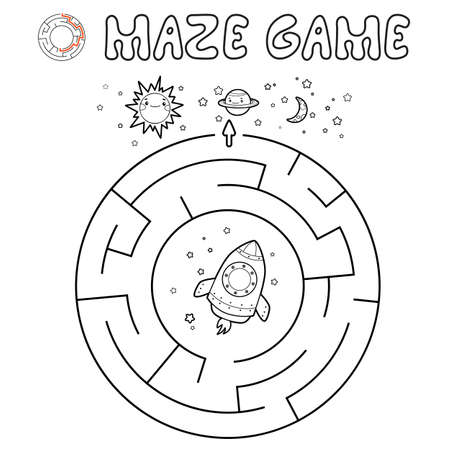 Maze puzzle game for children. Outline circle maze or labyrinth game with rocket. Vector illustrations