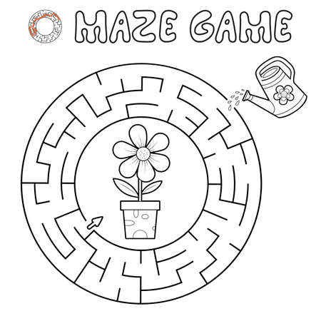 Maze puzzle game for children. Outline circle maze or labyrinth game with flower. Vector illustrations 일러스트