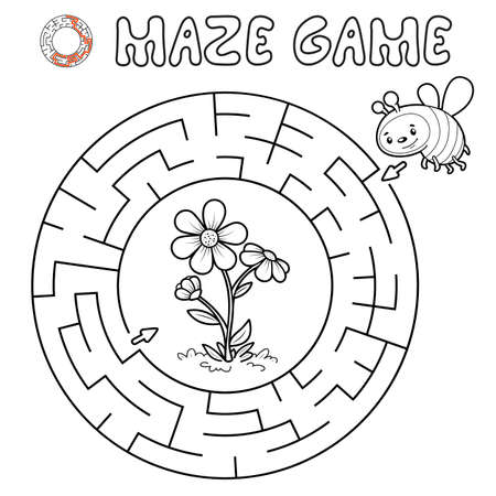 Maze puzzle game for children. Outline circle maze or labyrinth game with bee. Vector illustrations