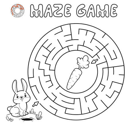 Maze puzzle game for children. Outline circle maze or labyrinth game with rabbit. Vector illustrations
