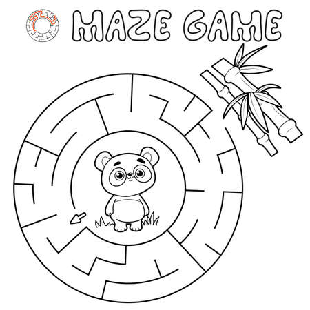 Maze puzzle game for children. Outline circle maze or labyrinth game with panda. Vector illustrations