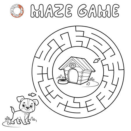 Maze puzzle game for children. Outline circle maze or labyrinth game with dog. Vector illustrations 일러스트