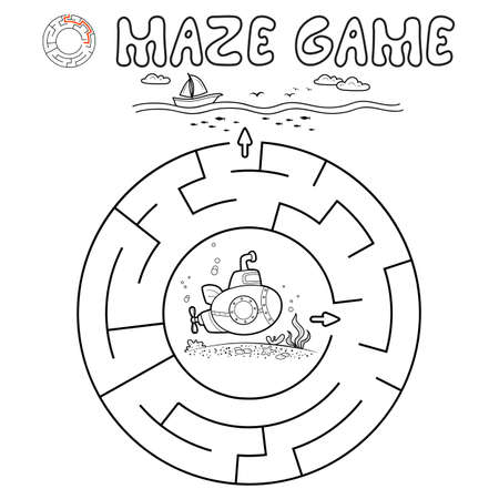 Maze puzzle game for children. Outline circle maze or labyrinth game with submarine. Vector illustrations