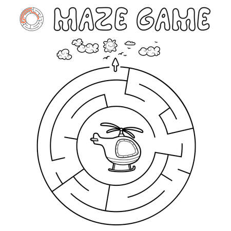 Maze puzzle game for children. Outline circle maze or labyrinth game with helicopter. Vector illustrations 일러스트